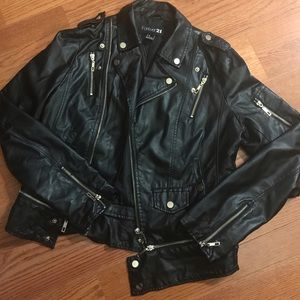 Forever 21 Leather-like bomber jacket